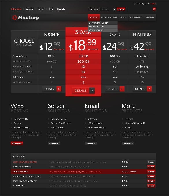 web hosting virtuemart template