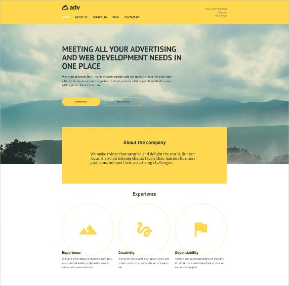 advertisement wordpress portfolio theme