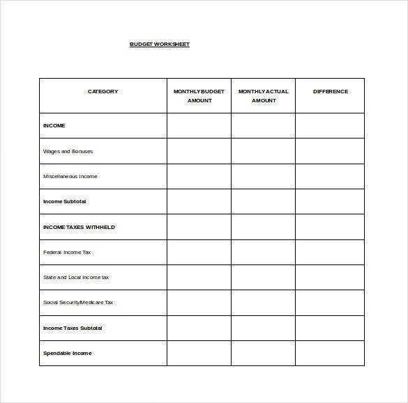 monthly budget spread word template free download
