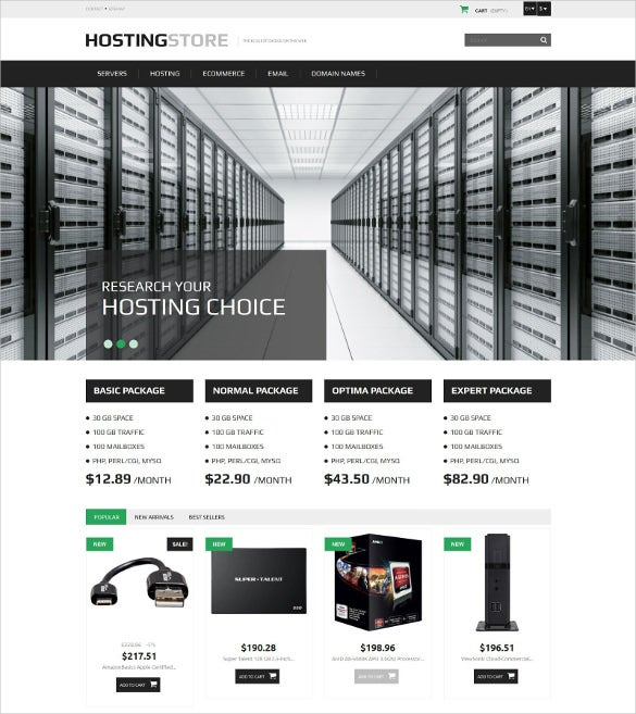 modern hosting prestashop theme