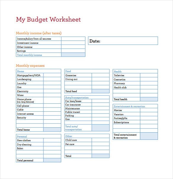 Home Budget Worksheet Monthly Budget Spreadsheet Template Sample