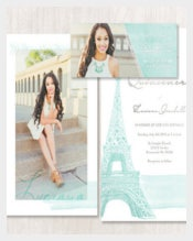 Paris Eiffel Tower Quinceanera, Save the Date or Wedding Invitation