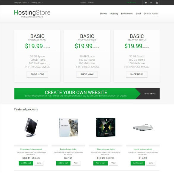 your hosting store prestashop theme
