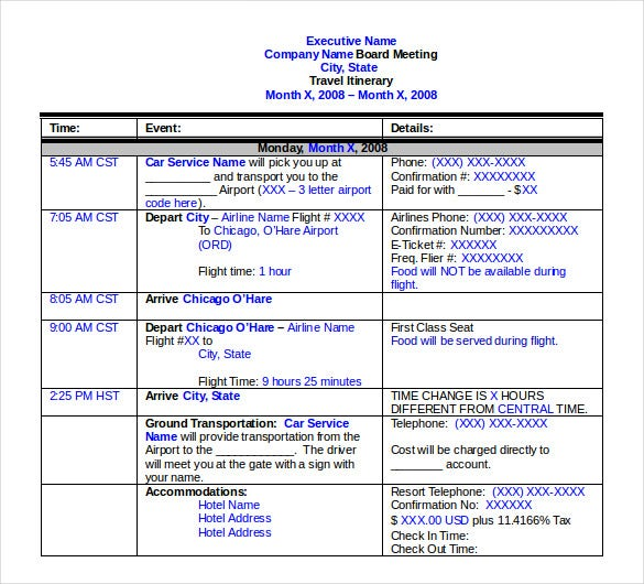 Travel Itinerary Template – Travel Itinerary Example