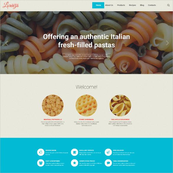 italian restaurant responsive wordpress ecommerce theme