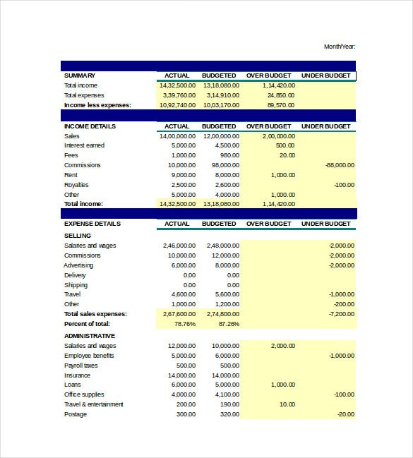 business budget spreadsheet excel template free download