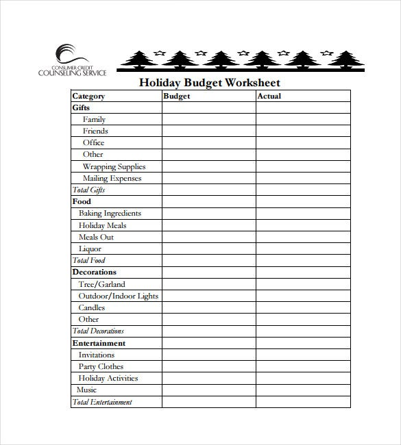 holiday budget spreadsheet free pdf template download