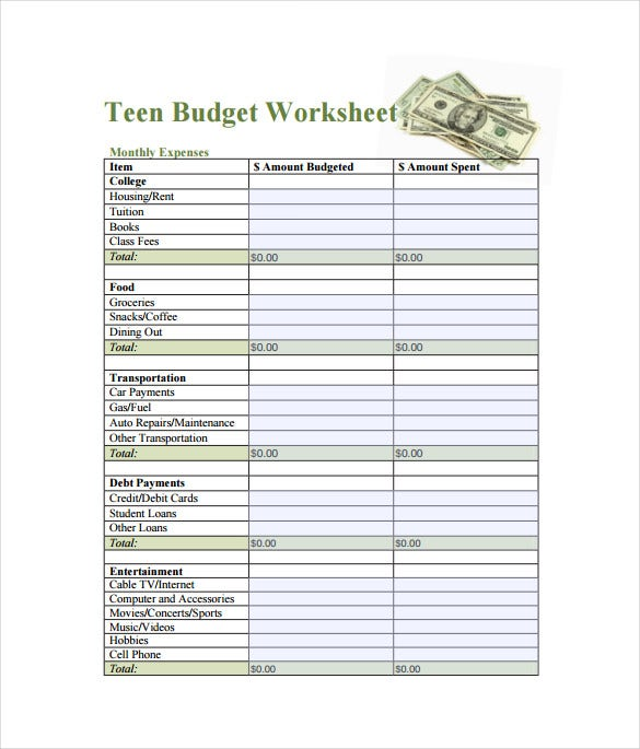 teen budget spreadsheet free pdf template download