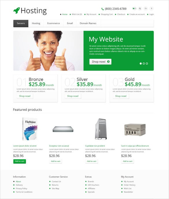 responsive hosting store opencart template