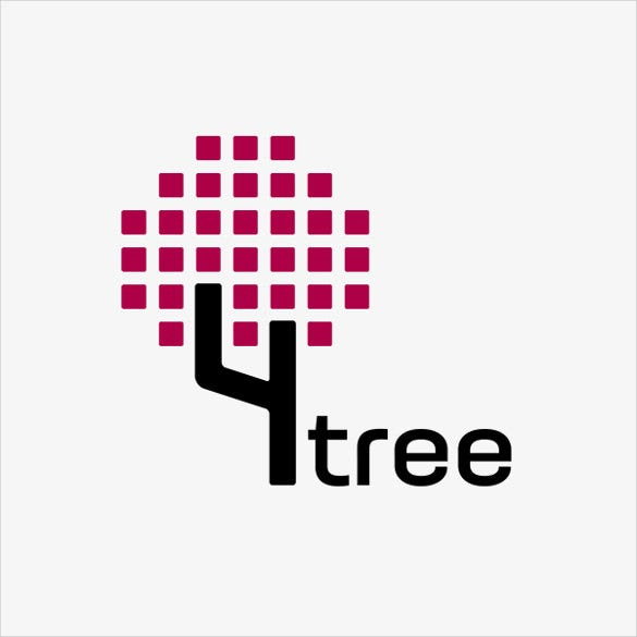 4 tree logo template download
