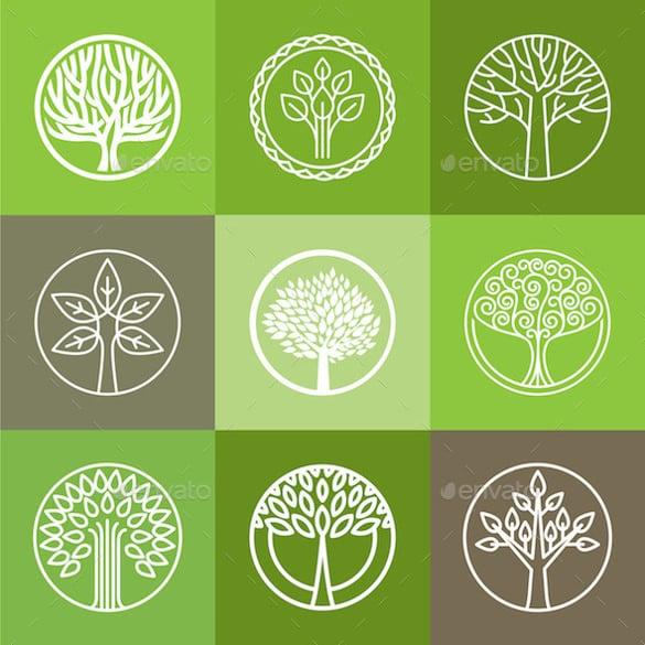 set of tree logos template