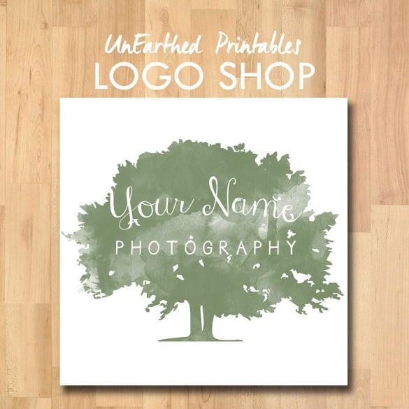 watercolour tree logo template