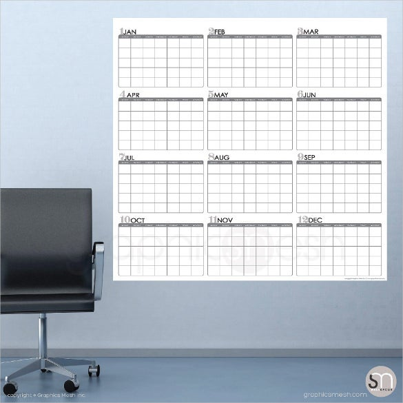 huge yearly blank calendar download