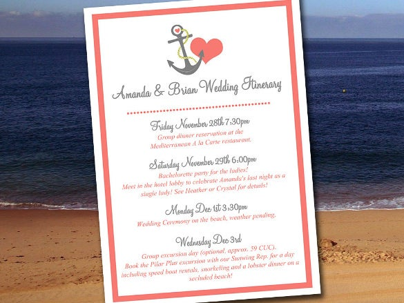 Wedding itinerary template 40 free word pdf documents download anchor love wedding itinerary template junglespirit Images