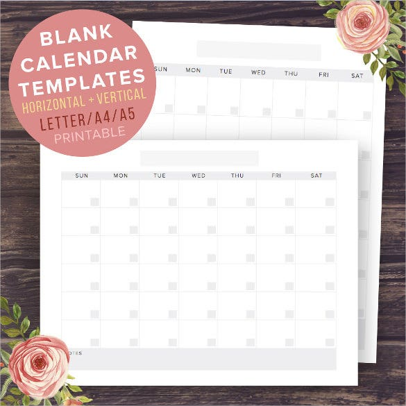 blank calendar template instant download