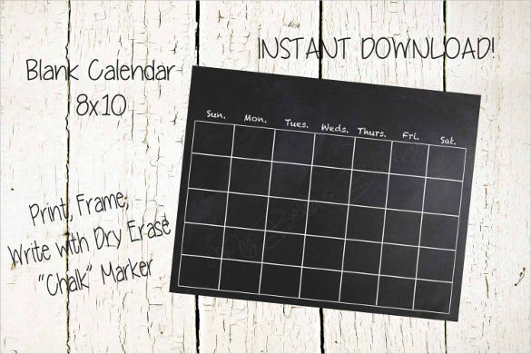 instant download handmade black blank calendar