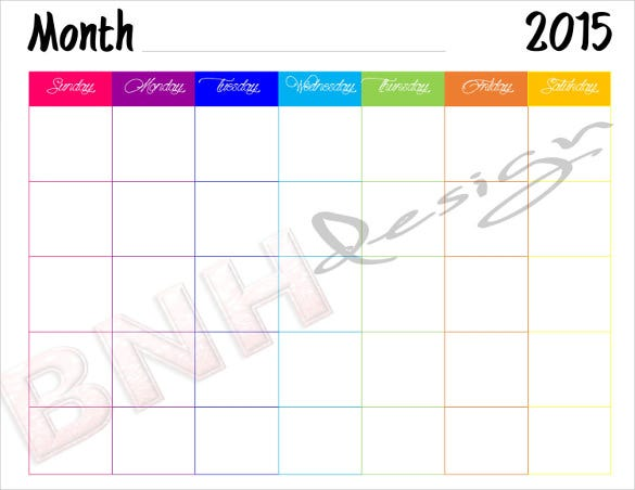 colorful printable blank calendar