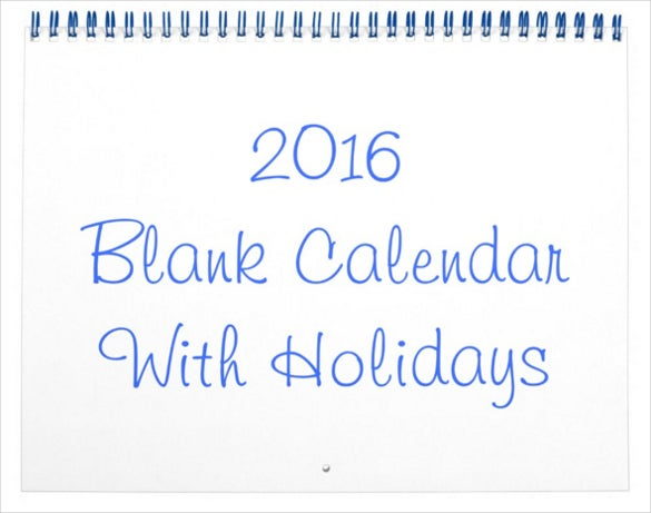 simple and new blank calendar with holidays for 2016