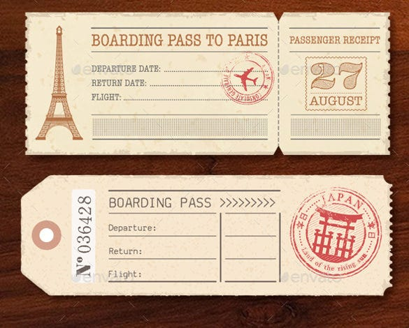 Boarding pass invitation template 36 free psd format for Boarding pass sleeve template