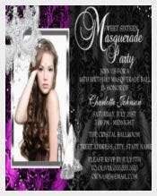 Elegant Mask & Heels Pink Masquerade Photo Sweet16 5x7 Paper Invitation Card