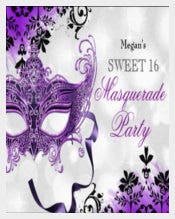 Jewel Mask & Damask Purple Masquerade Sweet Paper Invitation