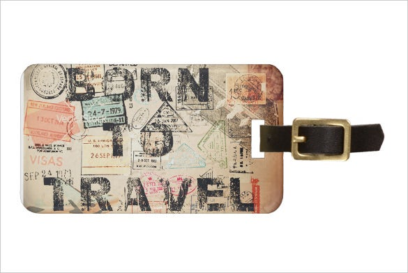 born to travel luggage tag printable template