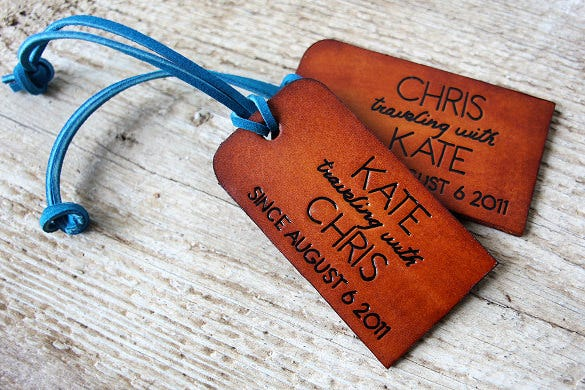his and hers traveling with leather luggage printable tag