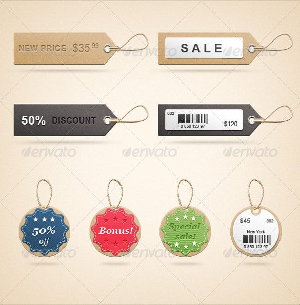 realistic price tags printable download template