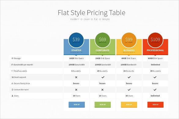flat style hosting website template