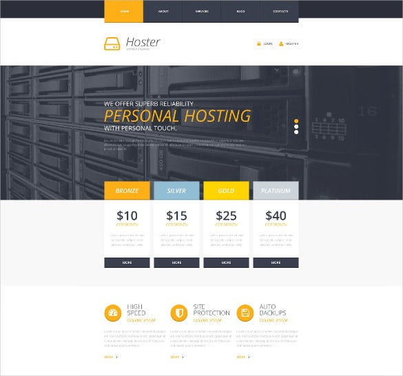 personal hosting website template