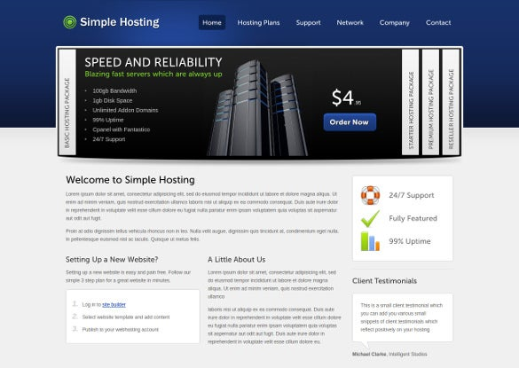 website template hosting