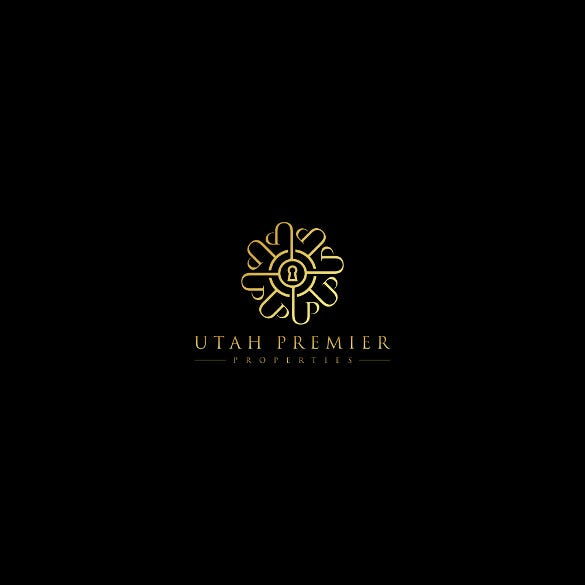 make high quality real estate business logo designs through premier real estate company logo template the black background with golden logo font looks