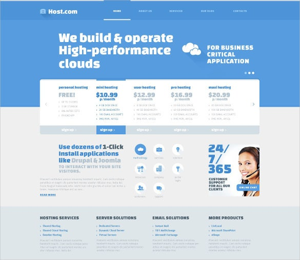 progressive hosting website template