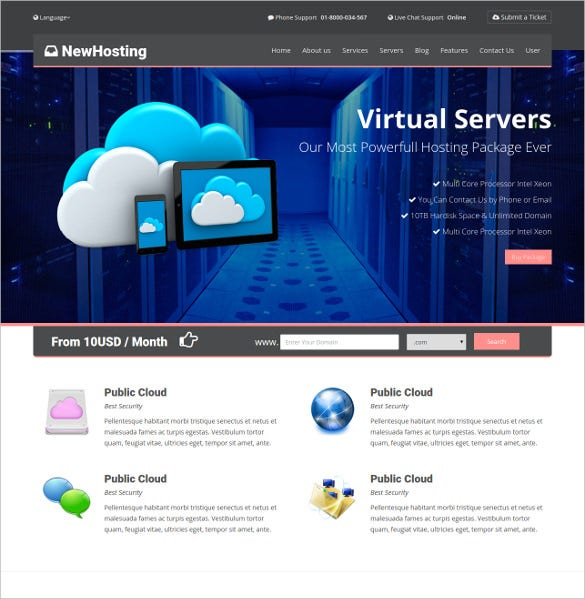 responsive hosting css3 html5 website theme