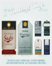 6 Retro Vintage Luggage Tags Template