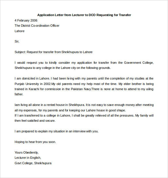 Job Application Letter University Lecturer