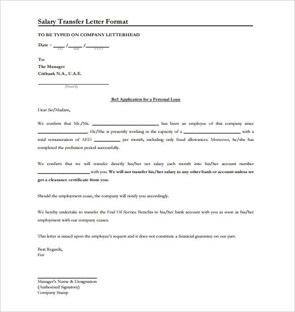 39 Transfer Letter Templates Free Sample Example