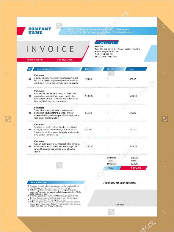 blank vector customizable invoice form