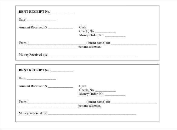 Doc585627 House Rent Receipt Rent Receipt Template 9 Free – House Rent Slip Format