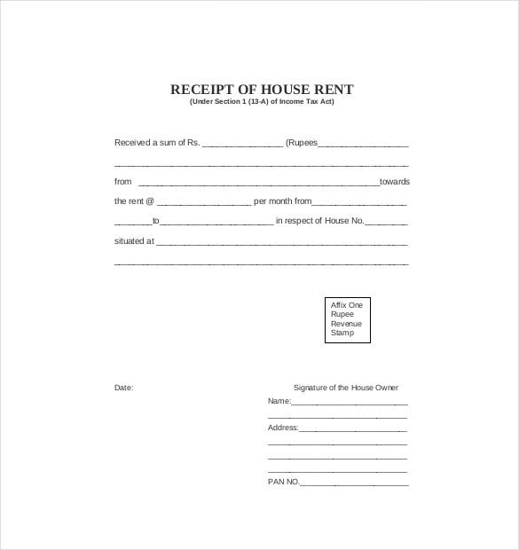 Business Rent Receipt Template