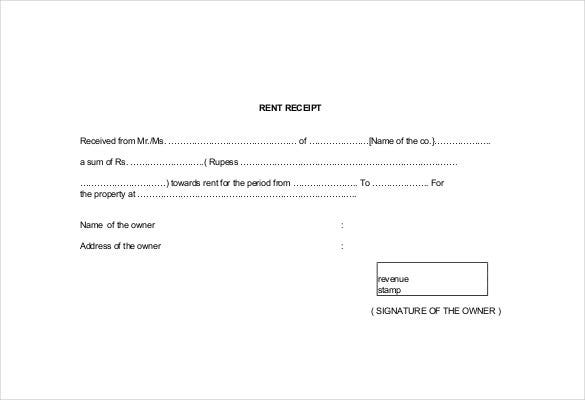 Free PDF Generic Rent Receipt Template  Format For Rent Receipt