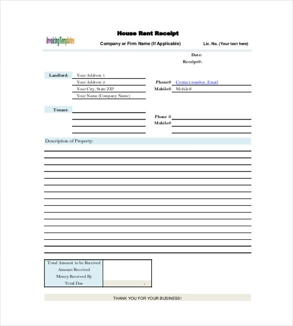Rental Receipt Template 30 Free Word Excel PDF Documents – House Rent Payment Receipt Format