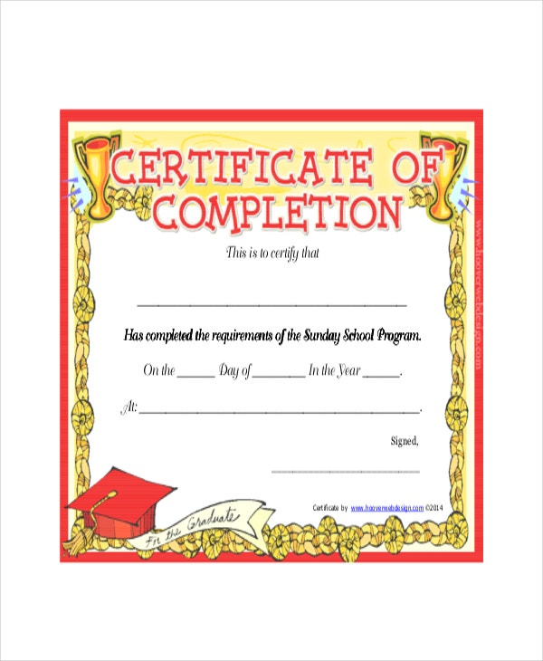 sunday school completion certificate