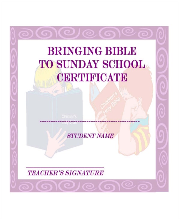 Sunday School Certificate Template   Free Word Excel Pdf