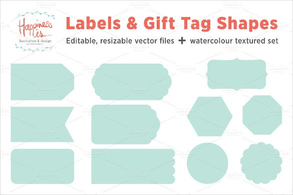 Gift tag template free premium templates 12 gift tags and label shape template printable negle Images