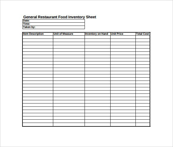 restaurant food inventory spreadsheet pdf template free download