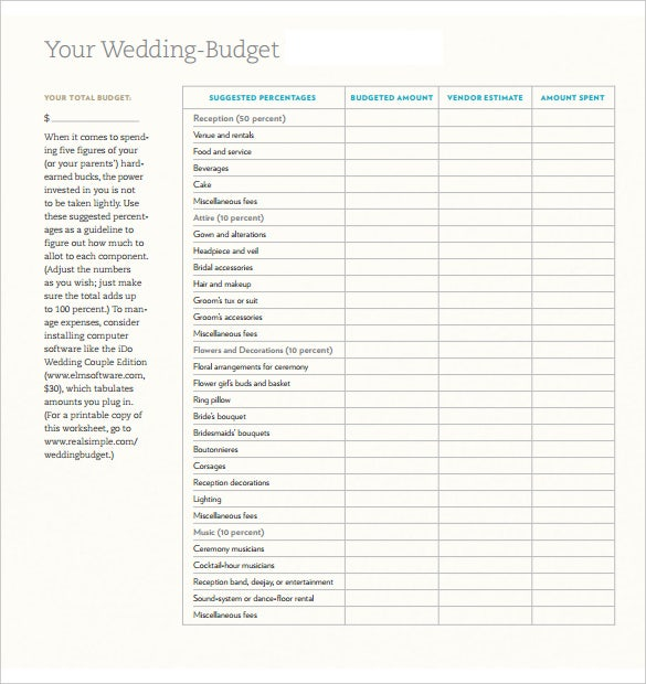 wedding budget spreadsheet free pdf template download