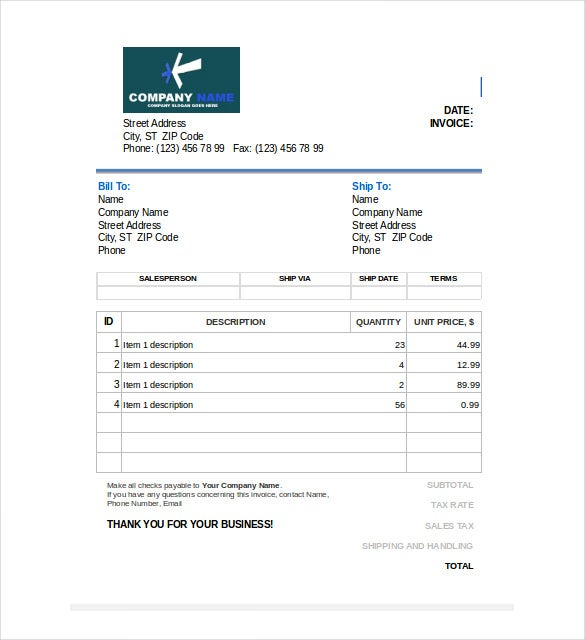Free Sales Editable Invoice In Excel  Invoice Template Editable