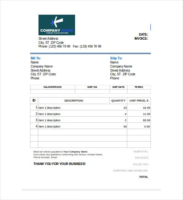 Sales Invoice Template Excel Datariouruguay