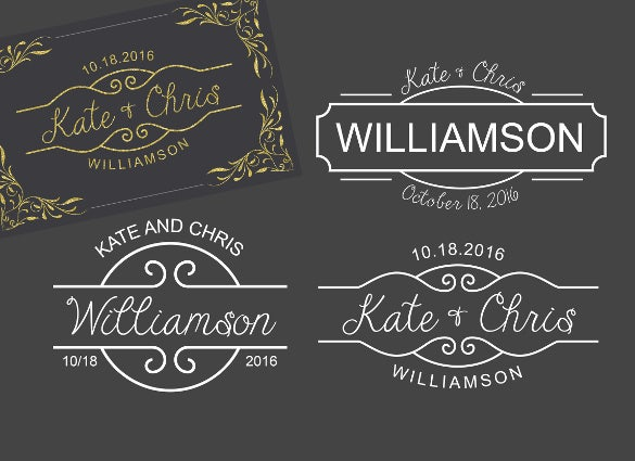 3 monogram template logo wedding template